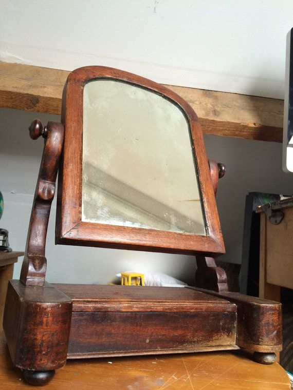 Antique 1880 Wooden Dresser Mirror On Jewellery Box Stand ...