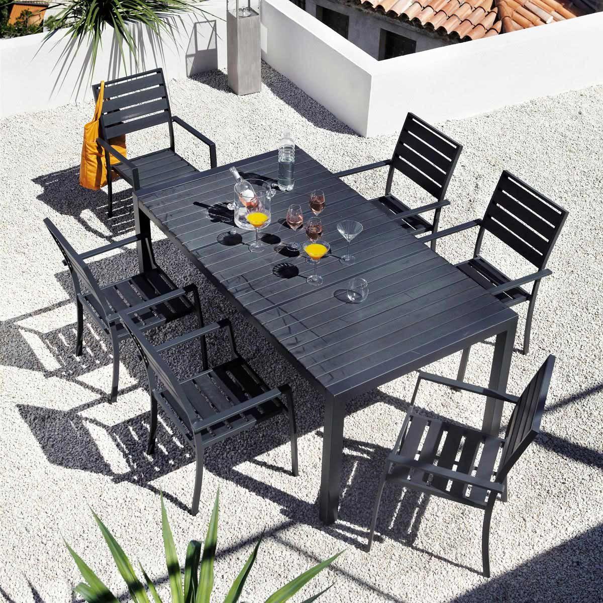 Fauteuil de jardin en aluminium anthracite stromboli for Maison du monde outdoor