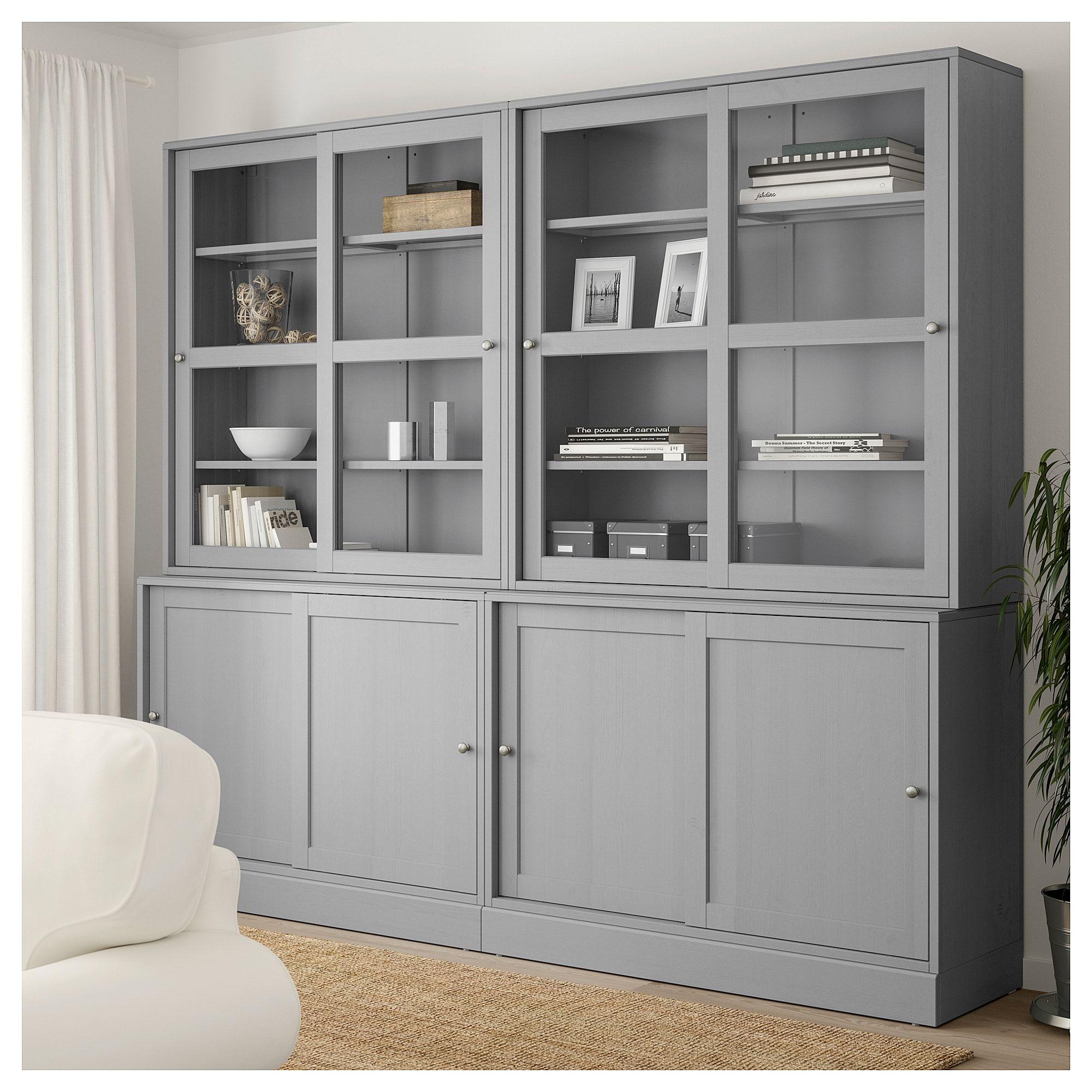Ikea havsta storage with sliding glass doors gray