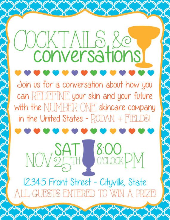 Rodan and Fields Cocktails and Conversations Cards - R+F Cocktails
