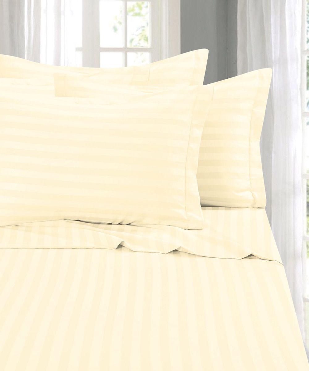 Ivory stripe sixpiece wrinkleresistant sheet set products