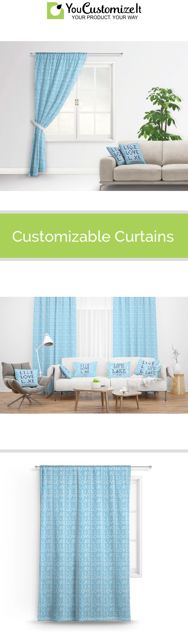 Live Love Lake Curtain (Personalized) in 2020 Custom