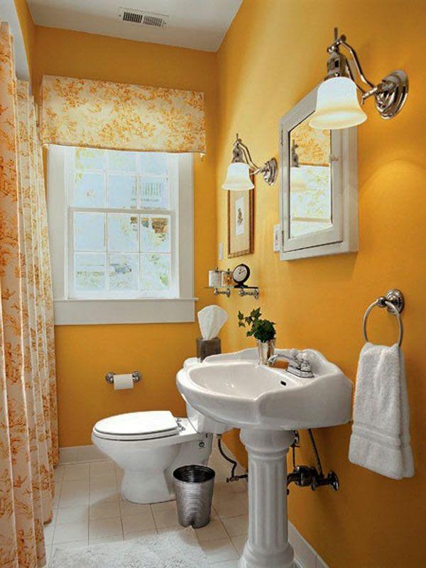 modernes badezimmer einrichten - lustige tapete und kleines spiegel ...