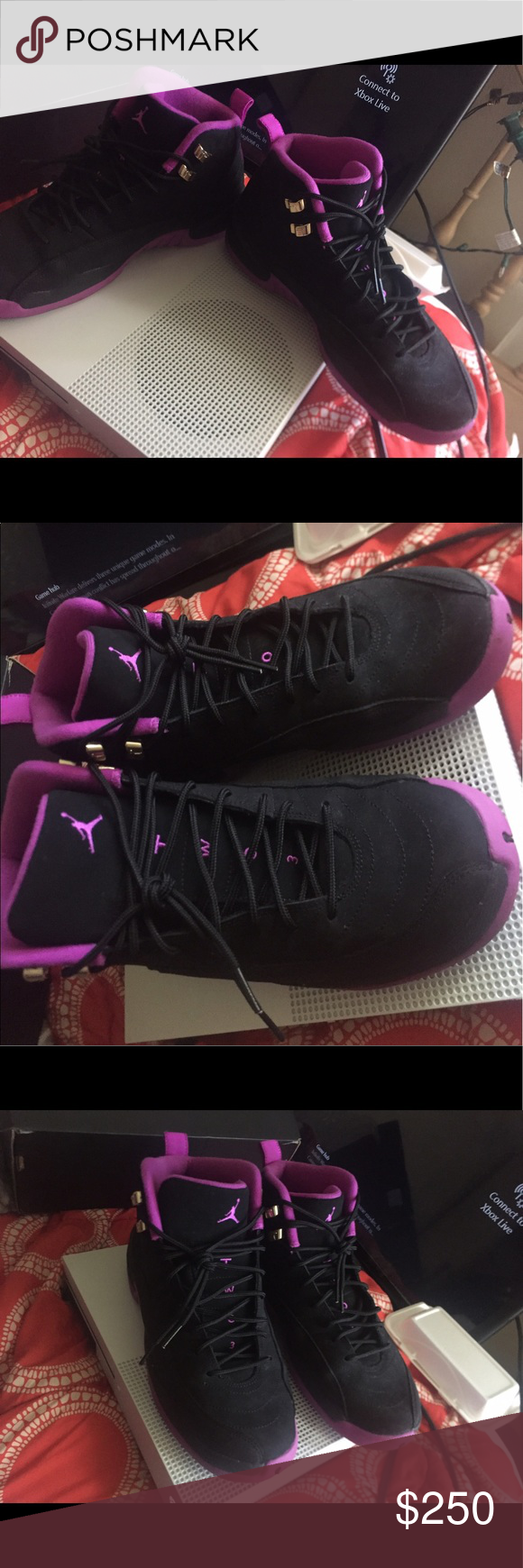 new arrival ce667 3832b Air Jordan's retro hyper violet 12s limited Black suede and ...