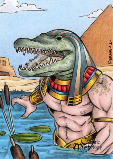 """EGYPTIAN GOD OF THE NILE MILITARY PROWESS SOBEK WITH ANKH SCULPTURE 11/""""H STATUE"""