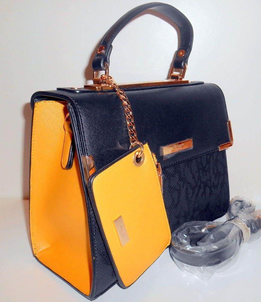 e631190707895 DUNE LONDON Satchel Flapover Handbag Black Faux Leather w  Xbody Strap New  NWT  DuneLondon  Satchel