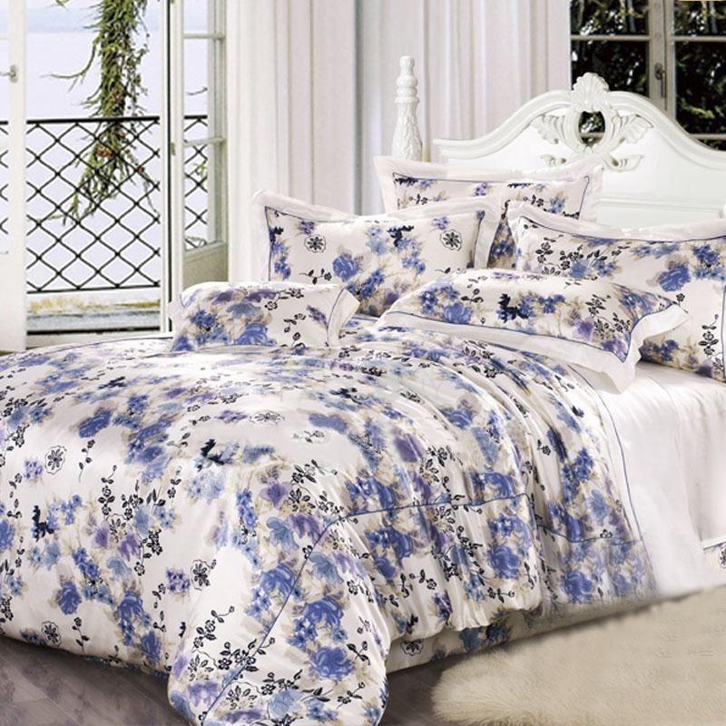 Elegant Noble Flowers 100 Silk Queen Duvet Cover Silk Bedding Set Silk Duvet Cover Queen Duvet Covers