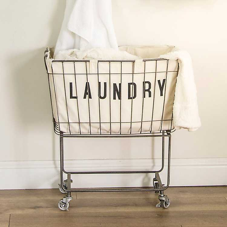 Rolling Metal Laundry Basket In 2020 Metal Laundry Basket
