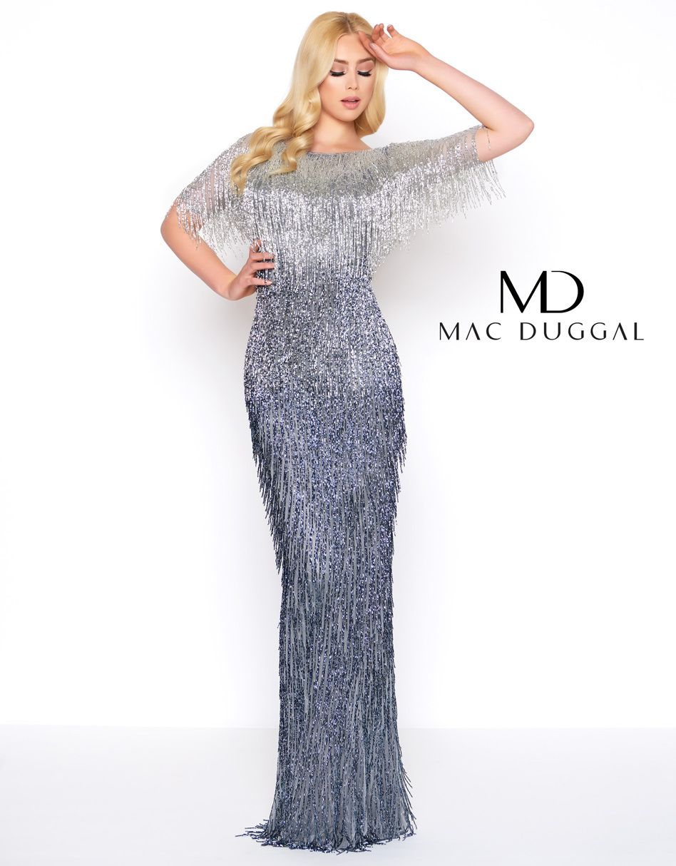 A fully liquid beaded sleeveless ombre sheath gown with a open