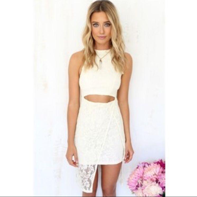 White Lace Sabo Skirt Dress