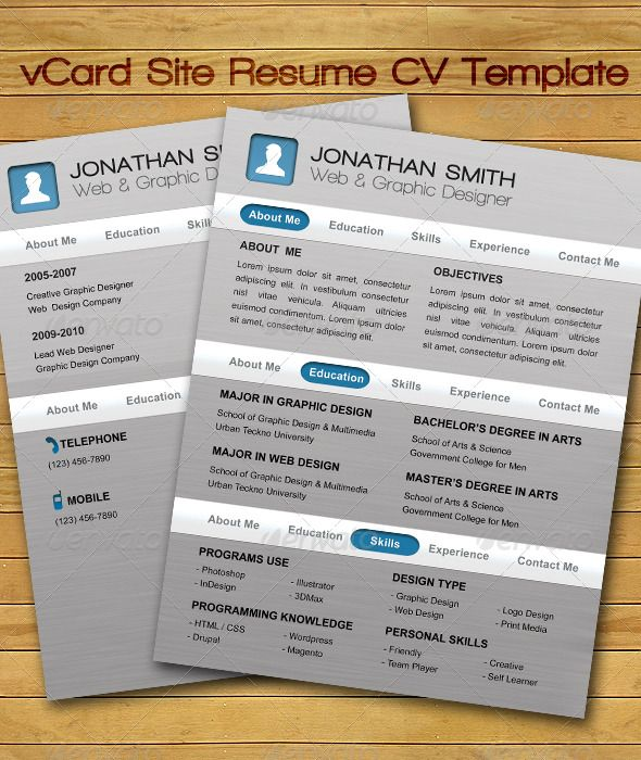 Vcard Site Resume Cv Template  Resume Cv Cv Template And Fonts