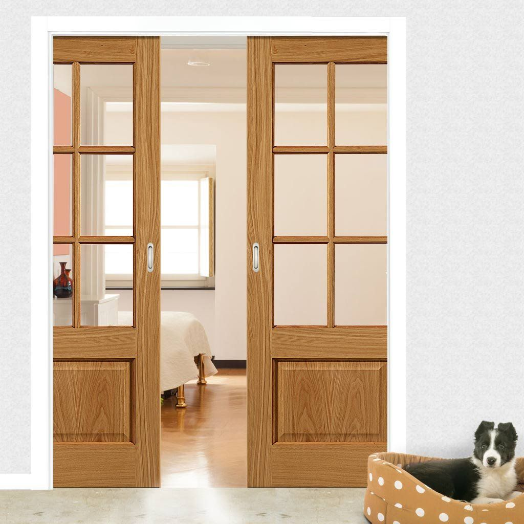 Double Pocket Dove 6 Pane Oak Sliding Door System In Three Size Widths With Clear Glass Roomdividers Oakdoo Sliding Pocket Doors Pocket Doors Doors Interior