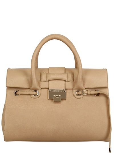 JIMMY CHOO ROSALIE GRAINY LEATHER TOP HANDLE