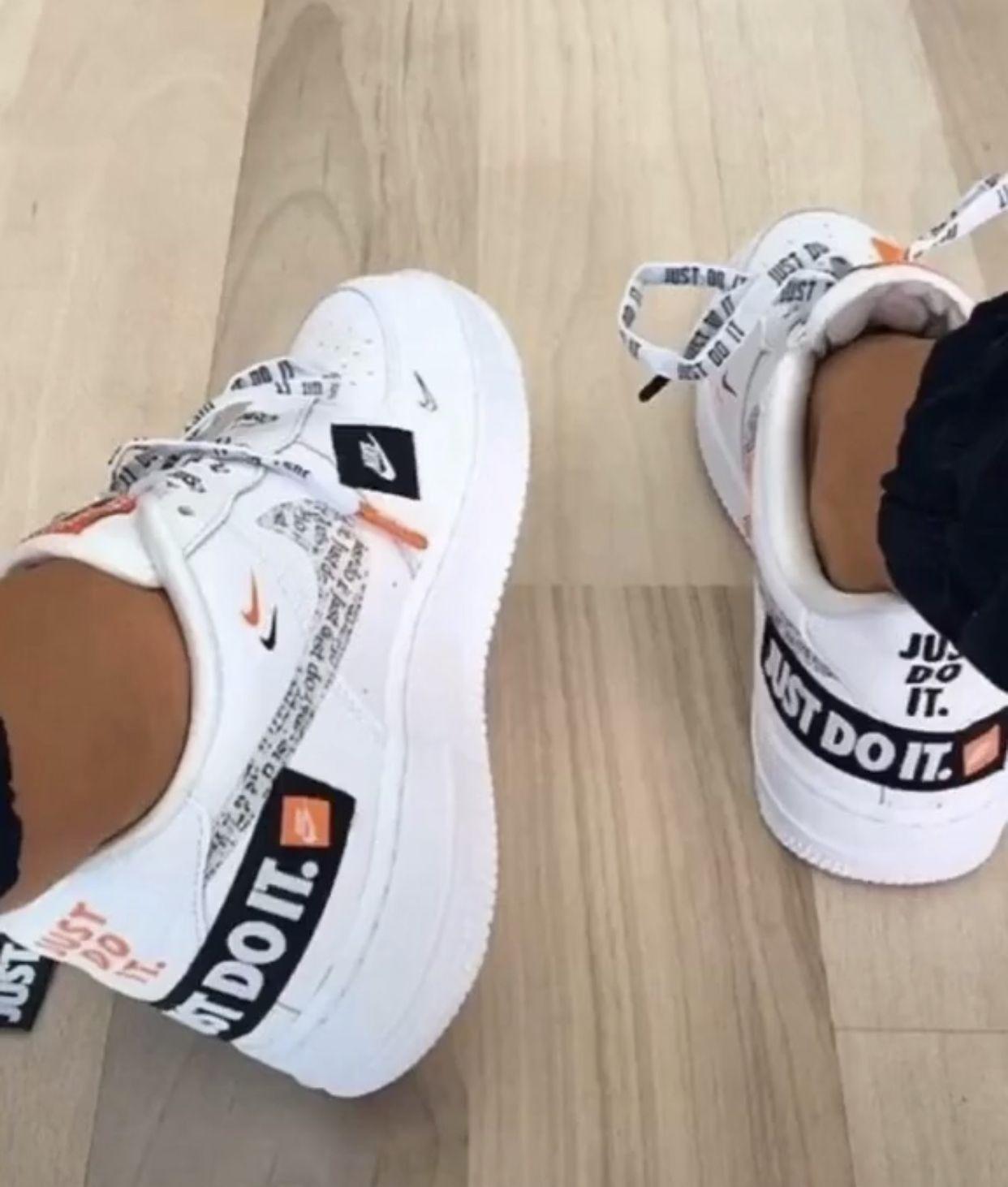 2018 Nike Air Force 1 07 Premium Just Do It White Black Total Orange In 2020 Shoes Nike Air Nike Airforce 1