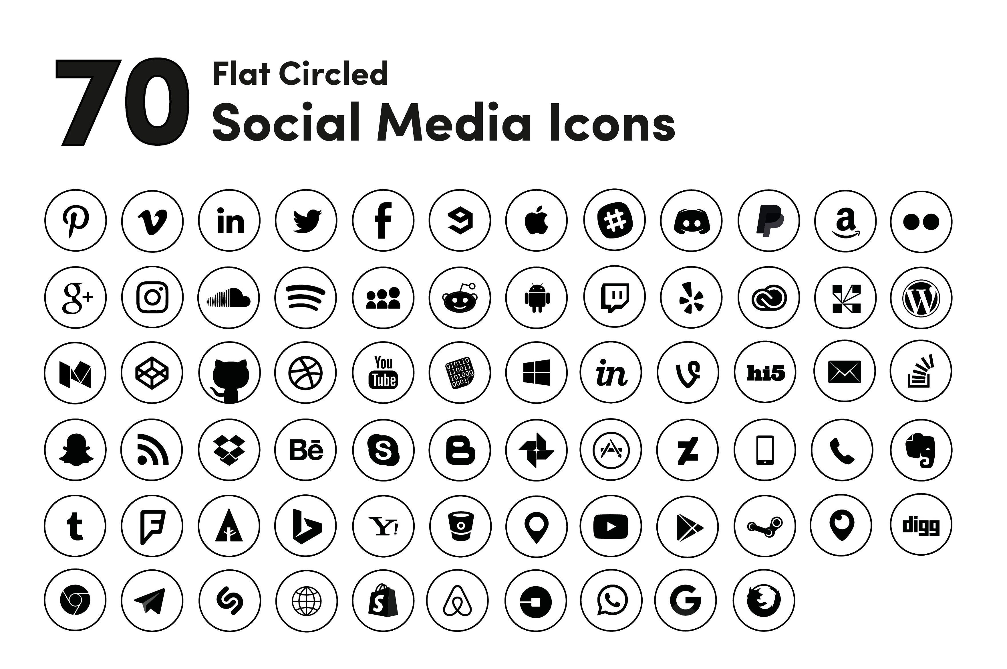 Black Circled Social Media Icons Social media icons