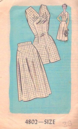 Vintage 50s Playsuit and Skirt Pattern Play Suit by weezieduzzit