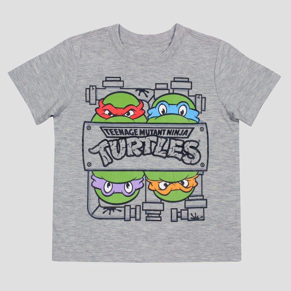 Nickelodeon Toddler Boys' Teenage Mutant Ninja Turtles Short Sleeve T-Shirt - Heather Grey 3T, Toddler Boy's, Size: 2T, Gray