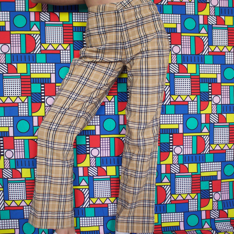 b61b13156 Vintage Burberry Inspired Style Nova Check Pants Trousers Size S 90s 70s  60s Mod British English Preppy Beige Tan Tartan Casual Punk Grunge