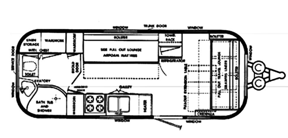 The Vintage Airstream Safari Travel Trailer Floor Plan
