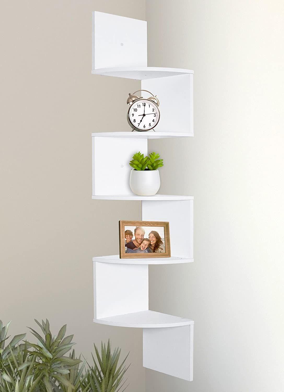 Greenco 5 Tier Wall Mount Corner Shelves White Finish In 2020 Corner Shelves Corner Shelf Design Floating Shelves
