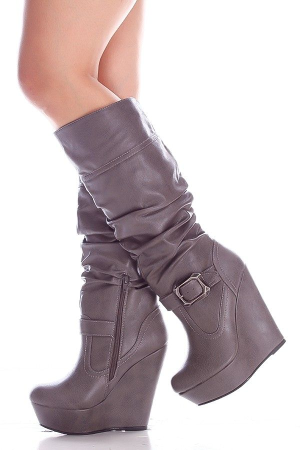 565d60542e8a GREY FAUX LEATHER SIDE ZIPPER BUCKLE ACCENT KNEE HIGH WEDGE BOOTS,Women's  Boots-Sexy Boots,Heel Boots,Flat Boots,Over The Knee Boots,Knee High Boots,Thigh  ...