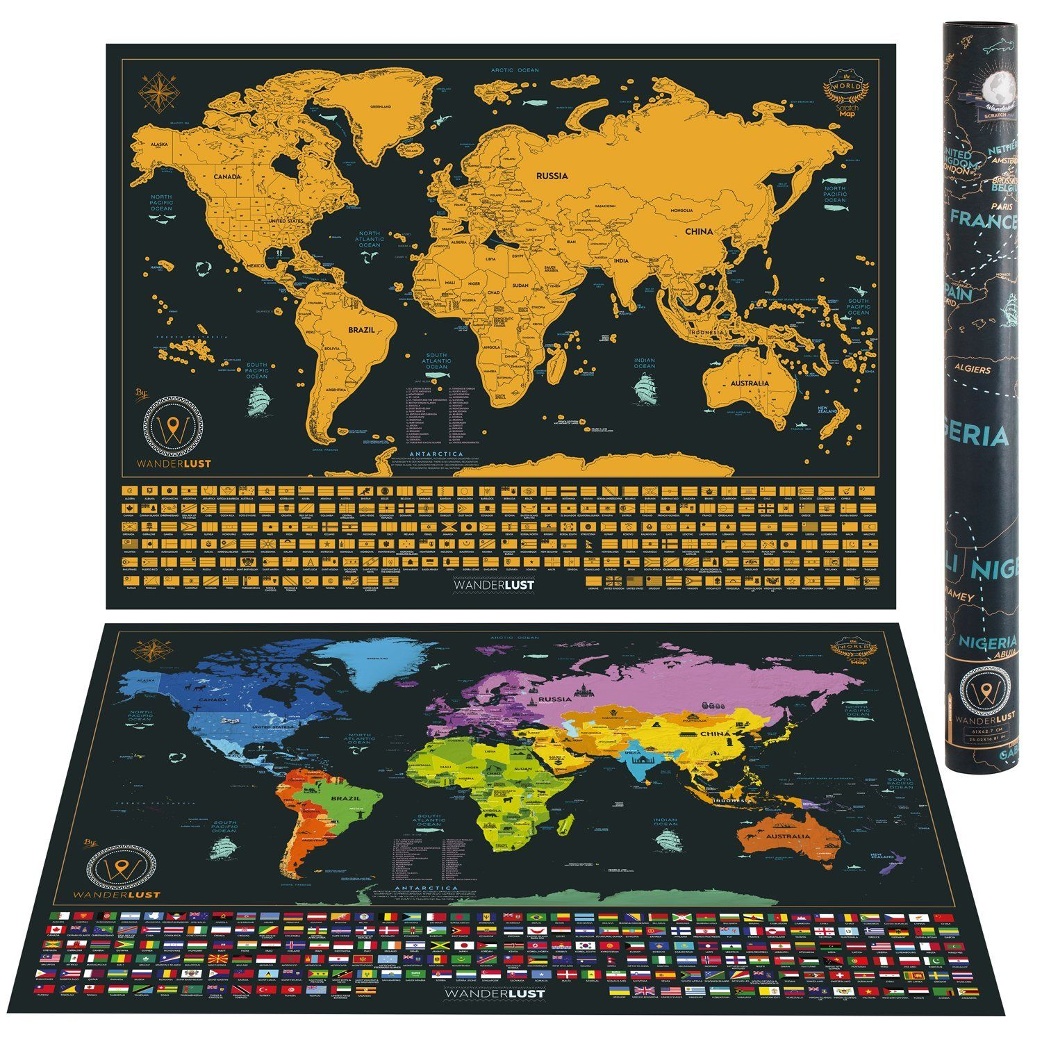 Amazon scratch off world map poster hanging kit detailed amazon scratch off world map poster hanging kit detailed map with us states and all country flags gift bundle includes scratcher memory stickers gumiabroncs Images