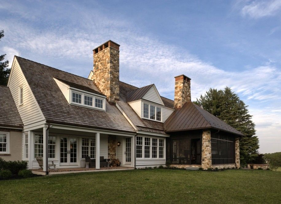 Exquisite Country Home Designs Stone Chimney Sloping Roof Country House Design House Design House Styles