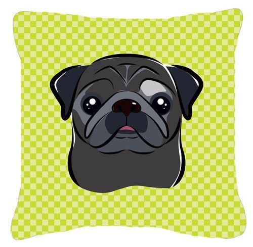 Checkerboard Lime Green Black Pug Canvas Fabric Decorative Pillow BB1325PW1414