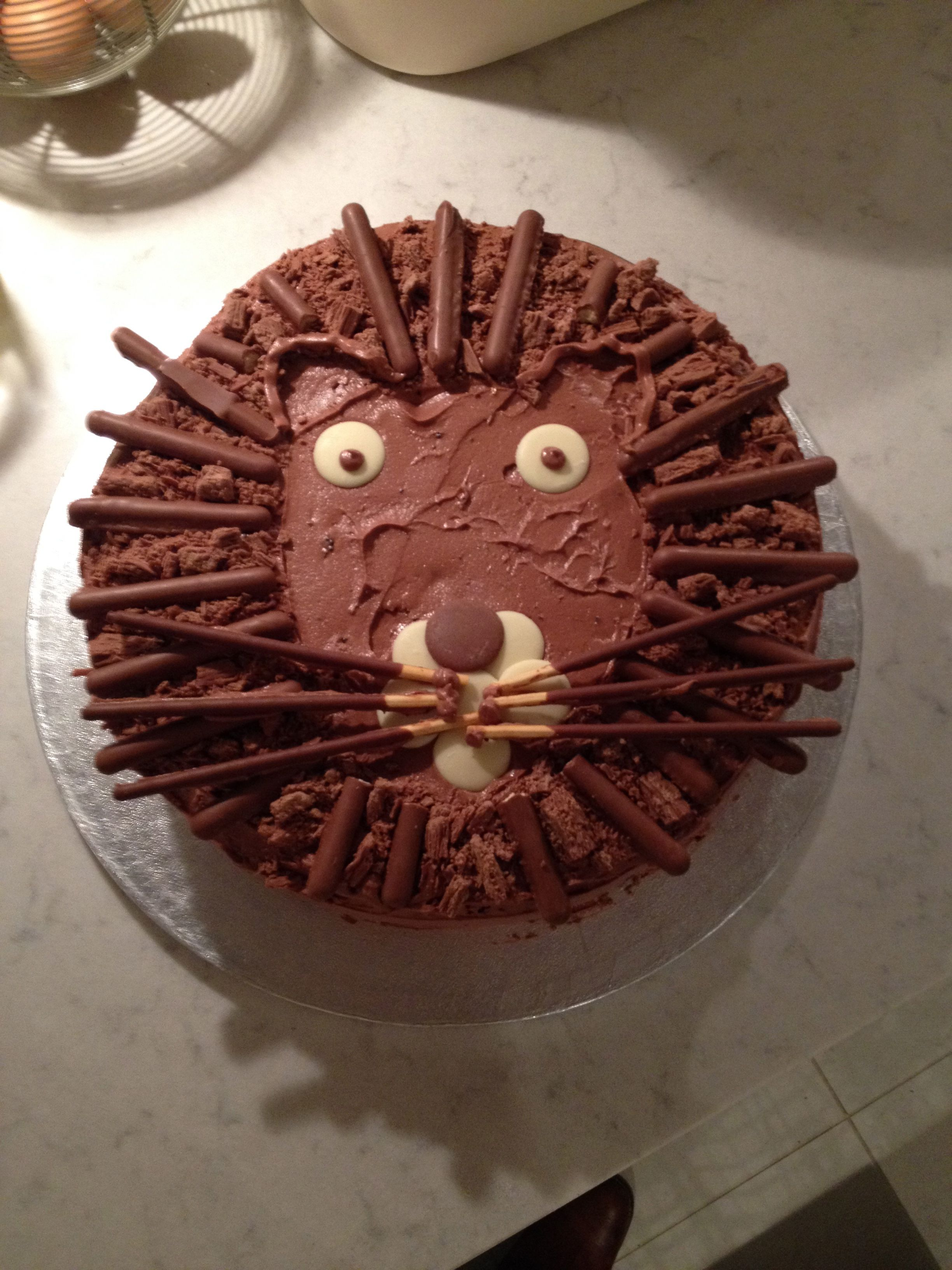 Chocolate Lion Cake Made With Chocolate Wedding Cake Covered In