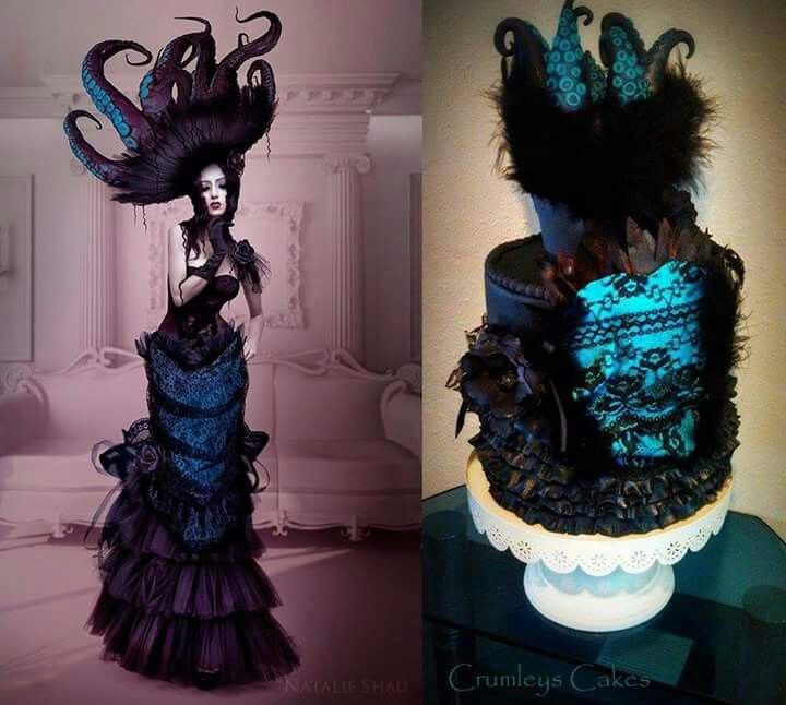 Tentacles, lace and feathers cake and outfit