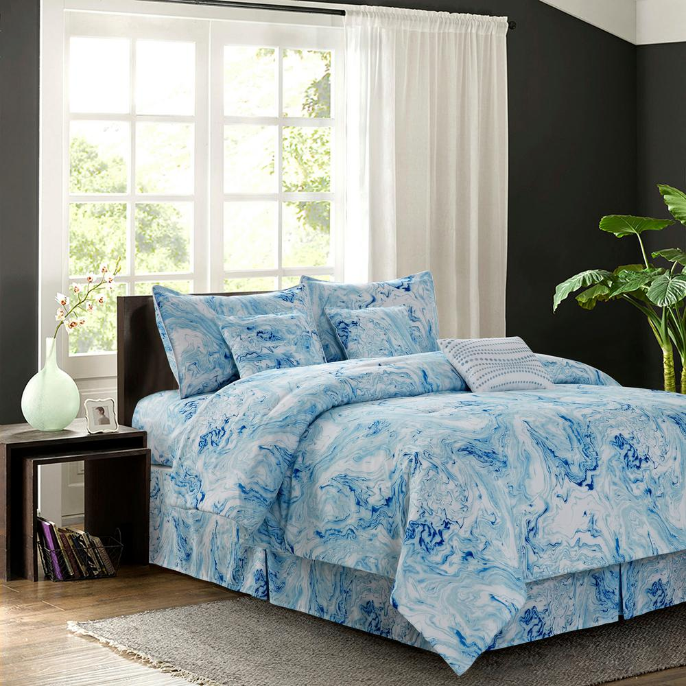 R2zen Carrera 7 Piece Blue Geometric Queen Comforter Set