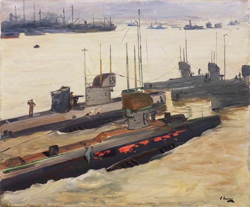 British Mine-Laying Submarines, Harwich by John Lavery, 1917.