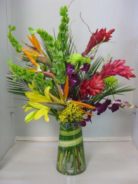 Tropical Party Flowers Ginger Birdofparadise Orchids Denton Bellsofireland Acacia Flowers Buy Bouquet Flower Shop