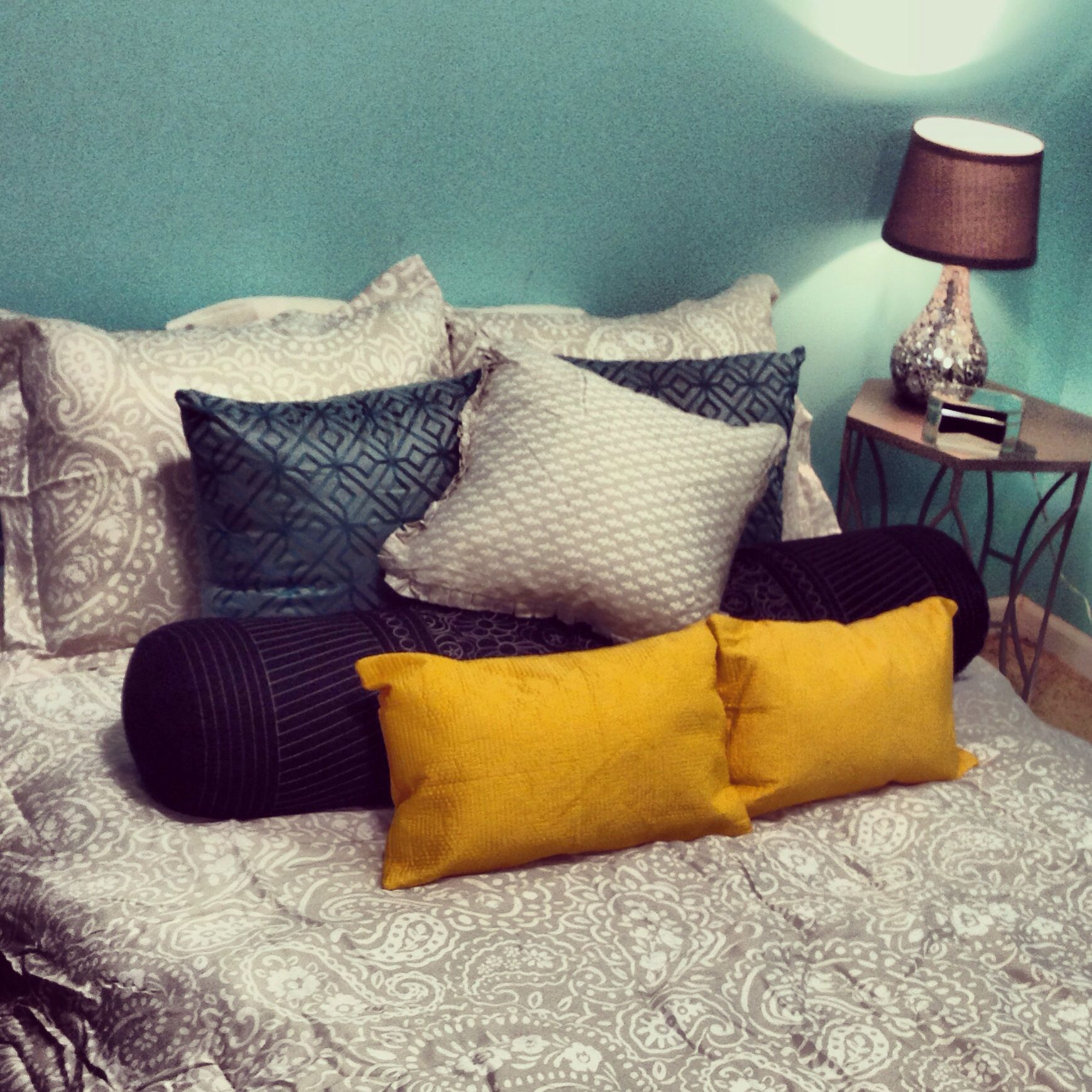 Turquoise and yellow bedroom. Yellow bedroom, Sweet home