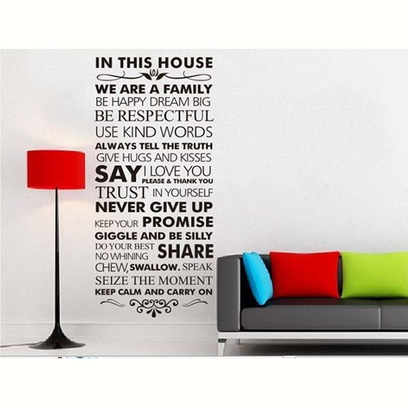 Art Design Home Decoration Vinyl French House Rules Word Wall Sticker  Colorful Pvc Family