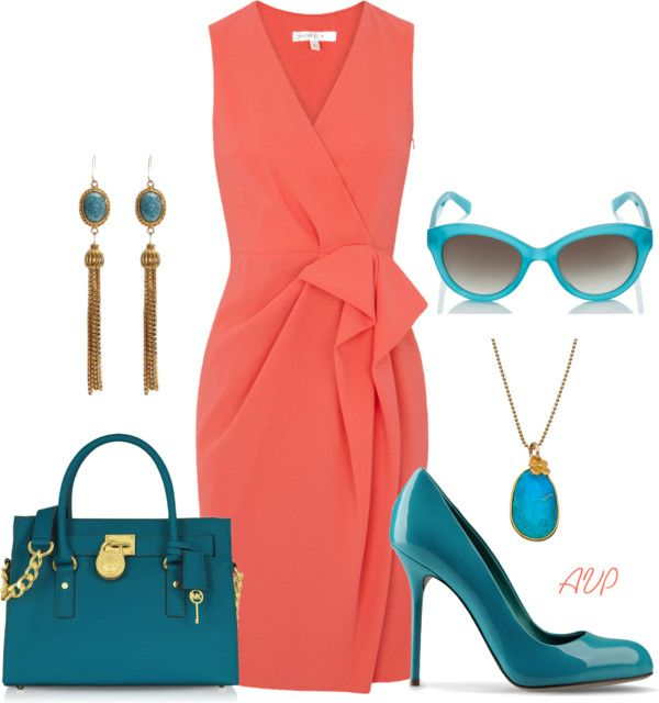 Turquoise And Coral Crepe Dress Turquoise Dress Outfit Coral Dress Outfit Turquoise Clothes