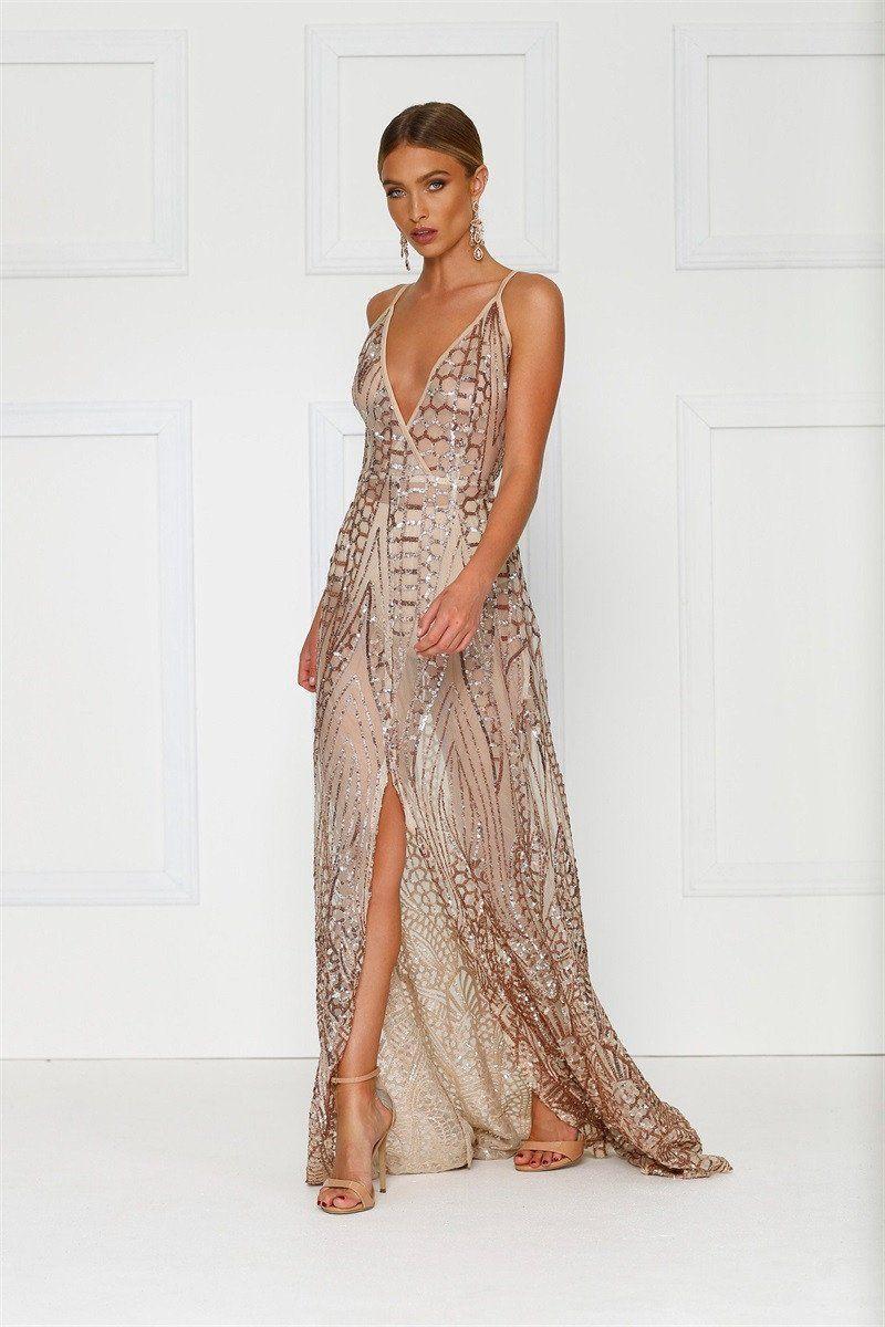 Miami Mermaid Gold Sequin Sheer Maxi Dress in 2019  da8502e38f8a