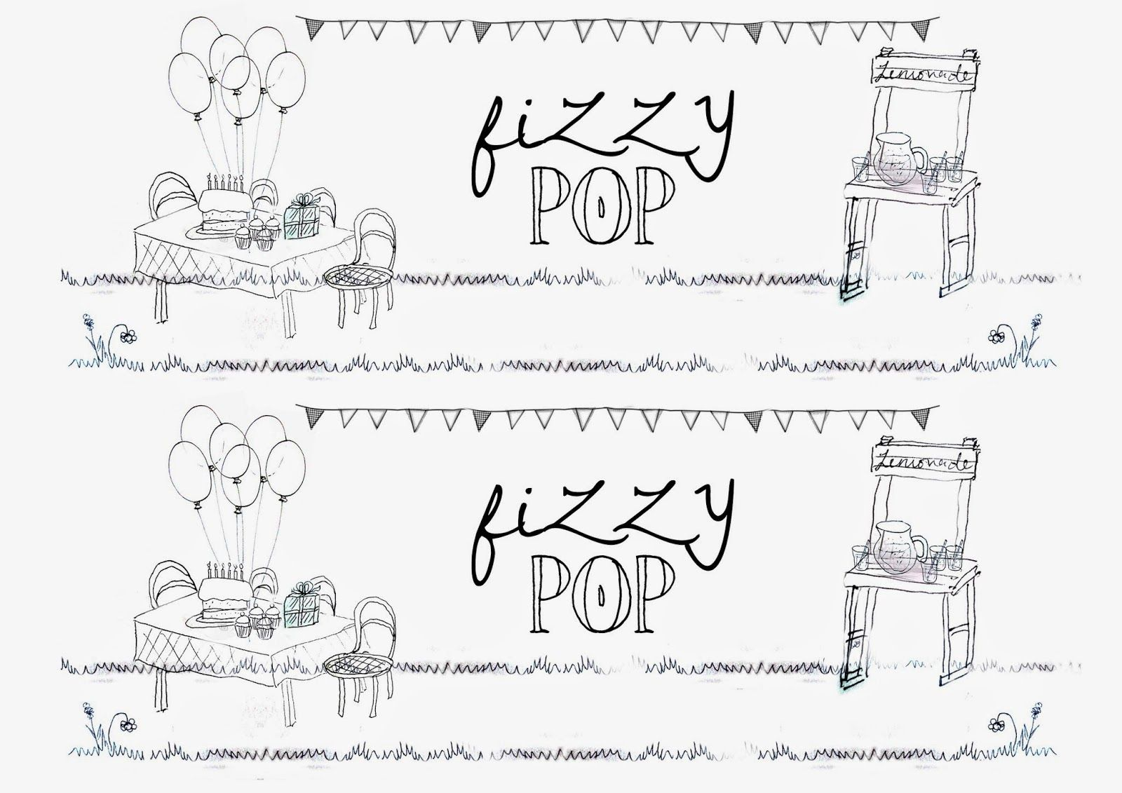 Greatfun4kids Soft Drink Bottle Party Labels Fizzy Pop Featuring A Lemonade Stand Party