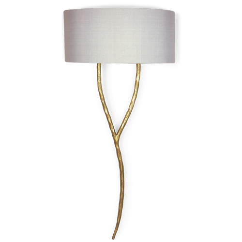 Twl39 Yves Wall Light White Gold H 740mm 29 1 4 With 16 Tall Semi Cylinder Putty Silk Shade H 800mm 31 1 2 Wall Lights Interior Wall Lights Lighting