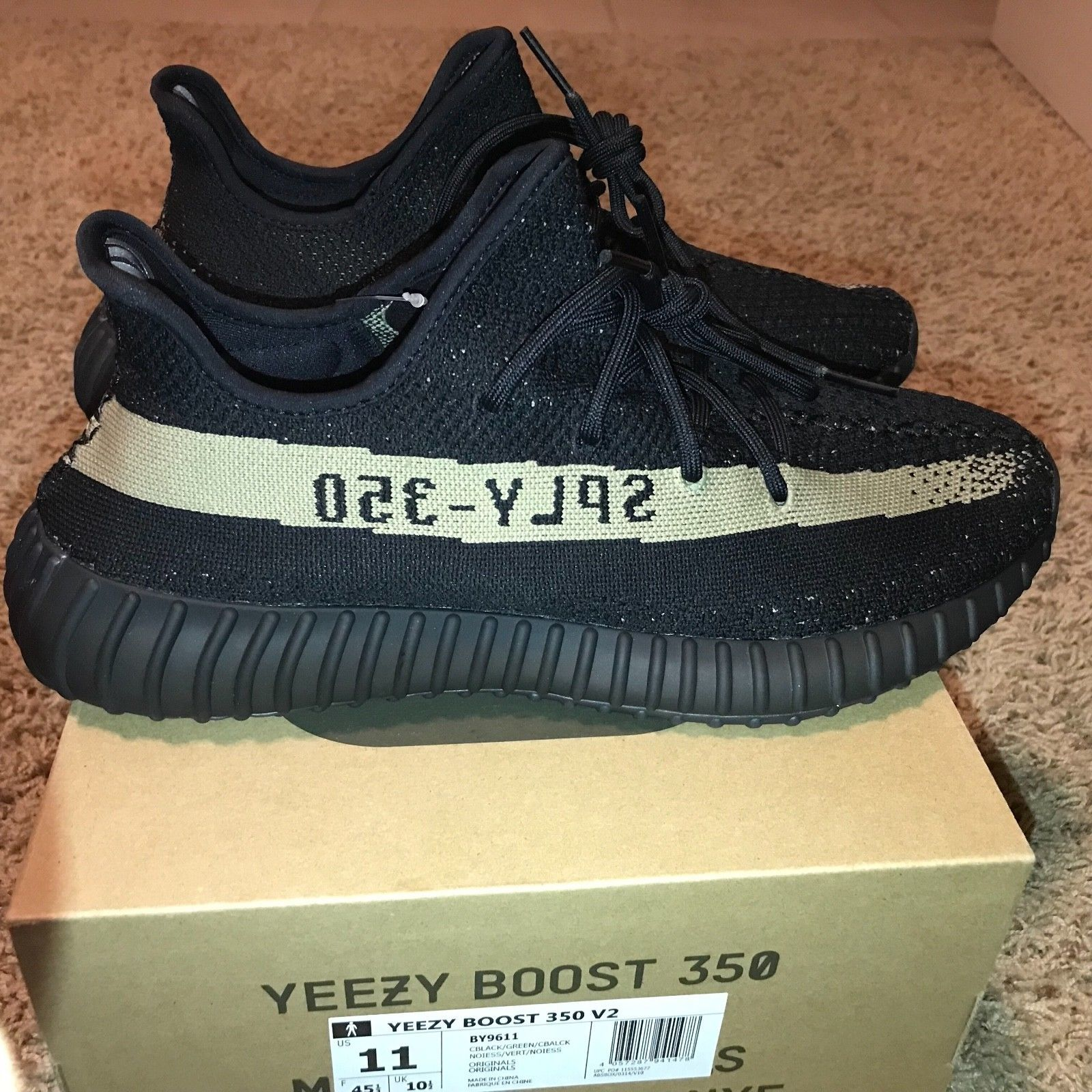 low priced 89414 8cc1c Adidas Yeezy Boost 350 V2 Core Black Green Olive BY9611 (Size 11) Zebra  Kanye