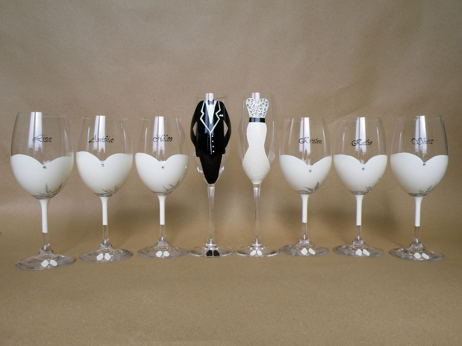 Hand painted bridal shower party glasses Wine glasses and ...