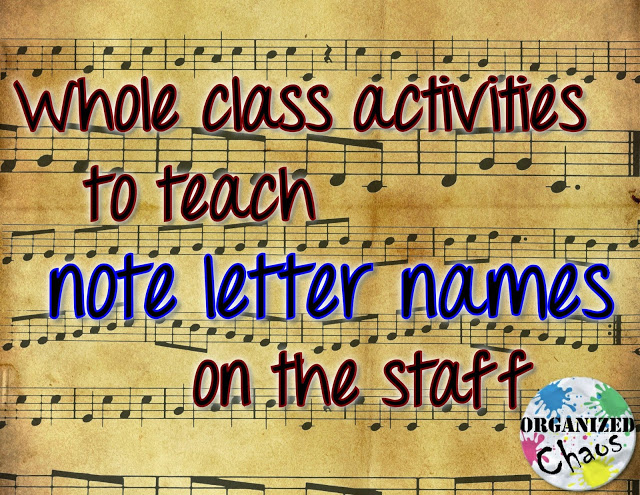 Teacher Tuesday teaching letter names of notes on the staff (part 1) is part of Elementary music education, Teaching music, Teaching letters, Elementary music class, Music literacy, Middle school music - Teaching Letter Names of Notes on the Staff (part 1) full class games and strategies  Organized Chaos  Lots of games and teaching strategies to help students learn treble and bass clef letter names on the staff