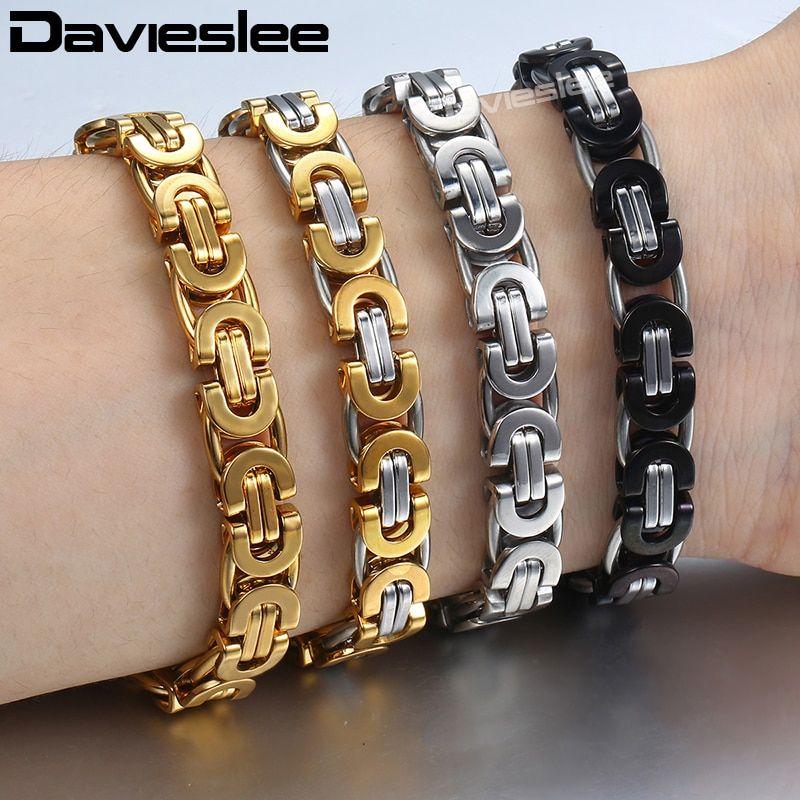 Davieslee Byzantine Chain Bracelet For Men Gold Silver Black Stainless Steel Me Stainless Steel Bracelet Men Mens Gold Bracelets Stainless Steel Chain Bracelet