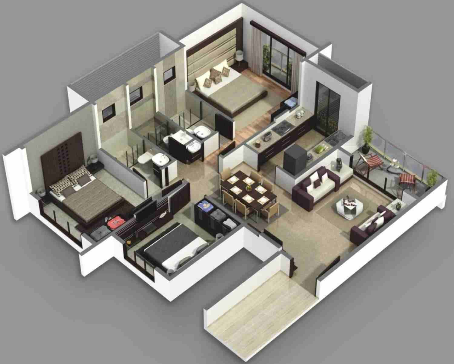 3d Home 3 Bedroom Floor Plans 3d 3d Home Floor Plan Interior 3d Floor