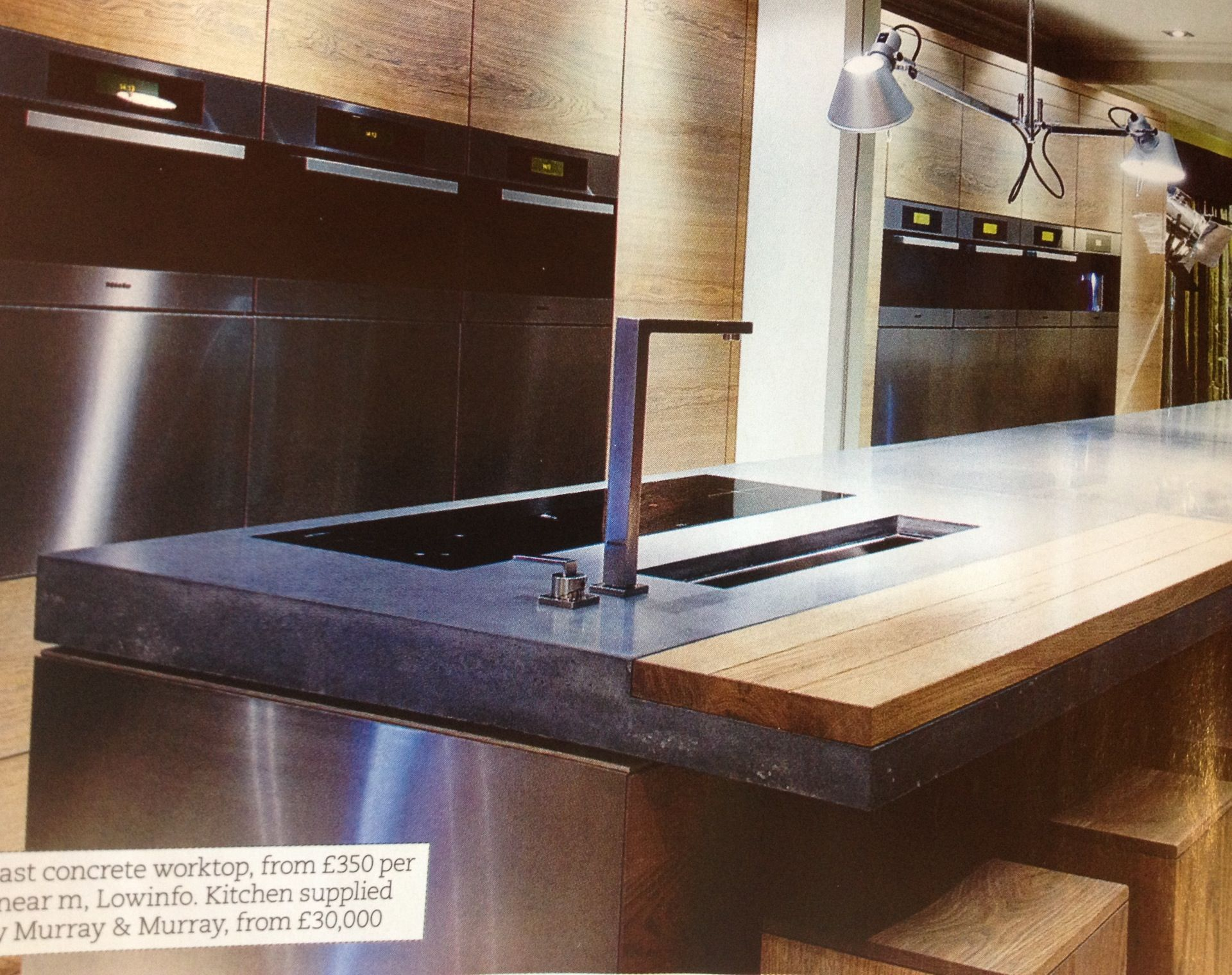 concrete counter with wood inset | Cook Here | Pinterest