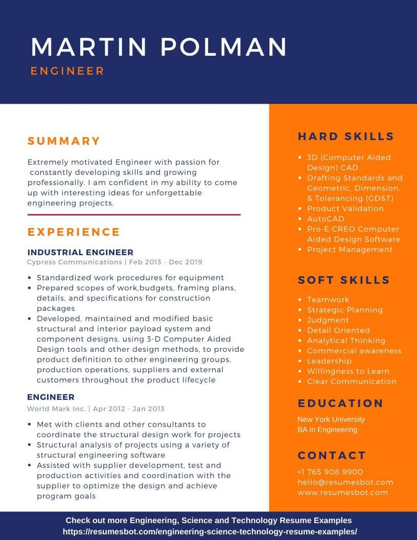 Engineering Resume Samples And Tips Pdf Doc Resumes Bot Engineering Resume Resume Examples Resume Template Examples