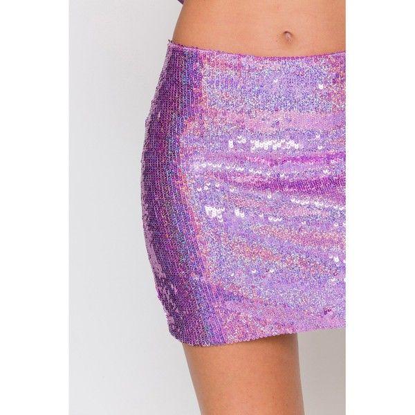 Pink Hologram Sequin Mini Skirt ($53) ❤ liked on Polyvore ...