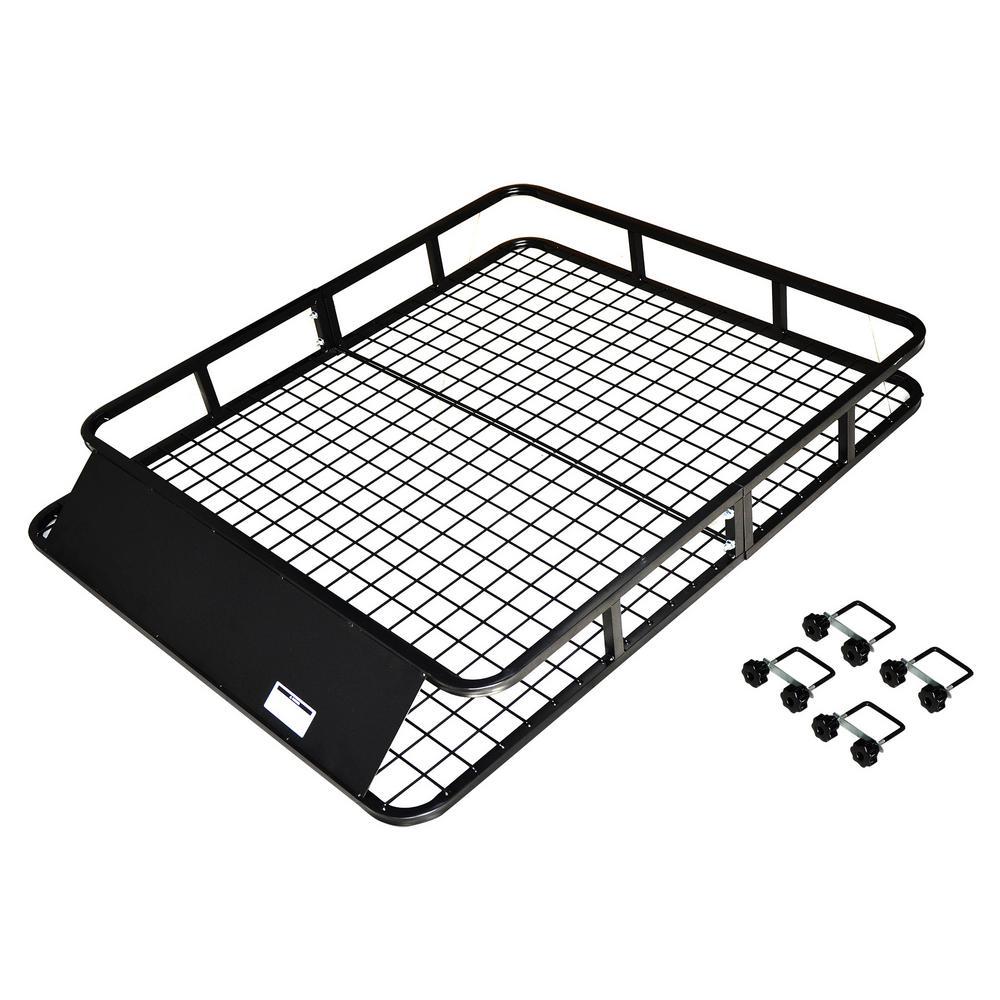 165 lb. Heavy-Duty Steel Roof Cargo Basket with Wind