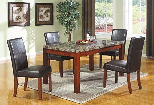 AFO #1931-2 5PC Dining Table  Chair Set with Marble Like Top and