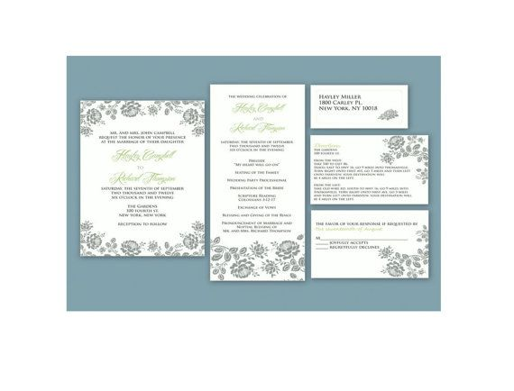Grey Floral Digital Wedding Invitation Template Set Invitation - Wedding invitation templates: wedding address label template